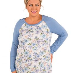 Blue Raglan Sleeve White Floral Top