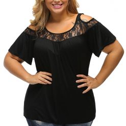 Black Floral Lace Yoke Cold Shoulder Pleated Blouse