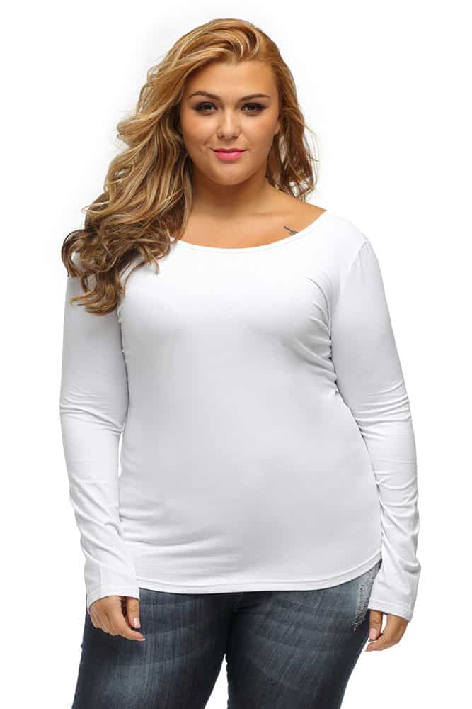 White Crisscross Back Long-Sleeve Top