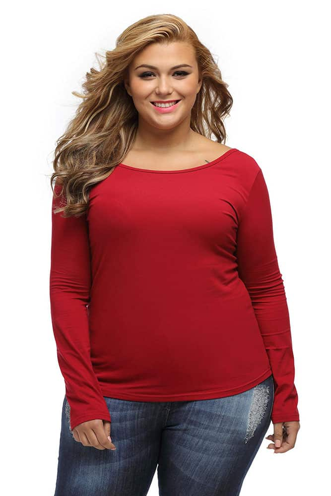 Burgundy Crisscross Back Long-Sleeve Top
