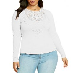 White Long Sleeves Crochet Lace Top