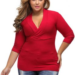 Red Deep V Fitted Rubbed Knit Top