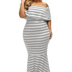 Grey White Striped Ruffle Tube Maxi Dress