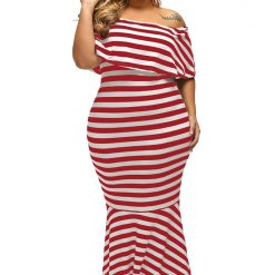 Red White Striped Ruffle Tube Maxi Dress