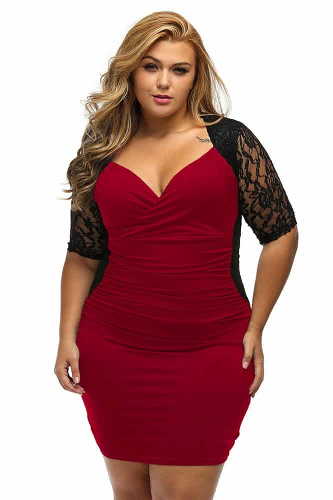 Black Burgundy Ruched Lace Illusion Dress