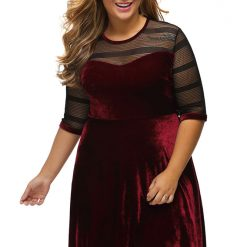 Mesh Insert Burgundy Velvet Swing Dress