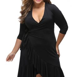 Black Whimsy Wrap Flounce Dress