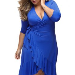 Blue Whimsy Wrap Flounce Dress