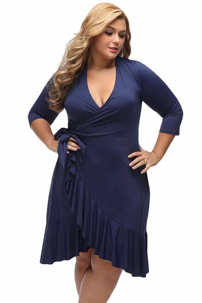 Navy Blue Whimsy Wrap Flounce Dress