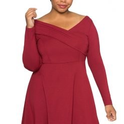 Red Cross Shoulder Fit and Flare Curvy Dress