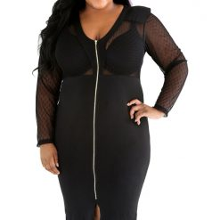 Black Dotty Mesh Bodice V Cut Dress