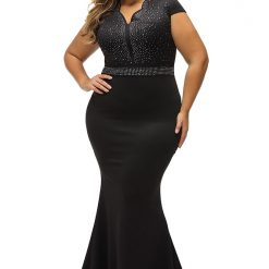 Black Rhinestone Front Bodice Scalloped Neckline Dress