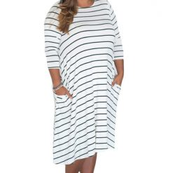 White Green 3/4 Sleeves Stripes Loose Fit Dress