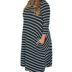 Black White 3/4 Sleeves Stripes Loose Fit Dress