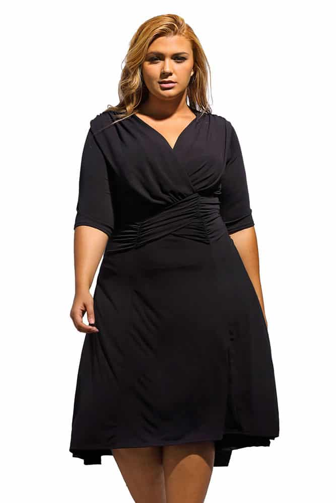 Black Curvaceous Ruched Dress
