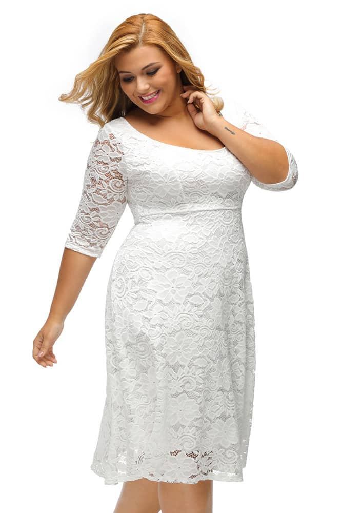 White Floral Lace Sleeved Fit and Flare Curvy Dress - CurvyPlus 6c64ad26b04