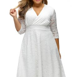 White Surplice Lace Formal Skater Dress