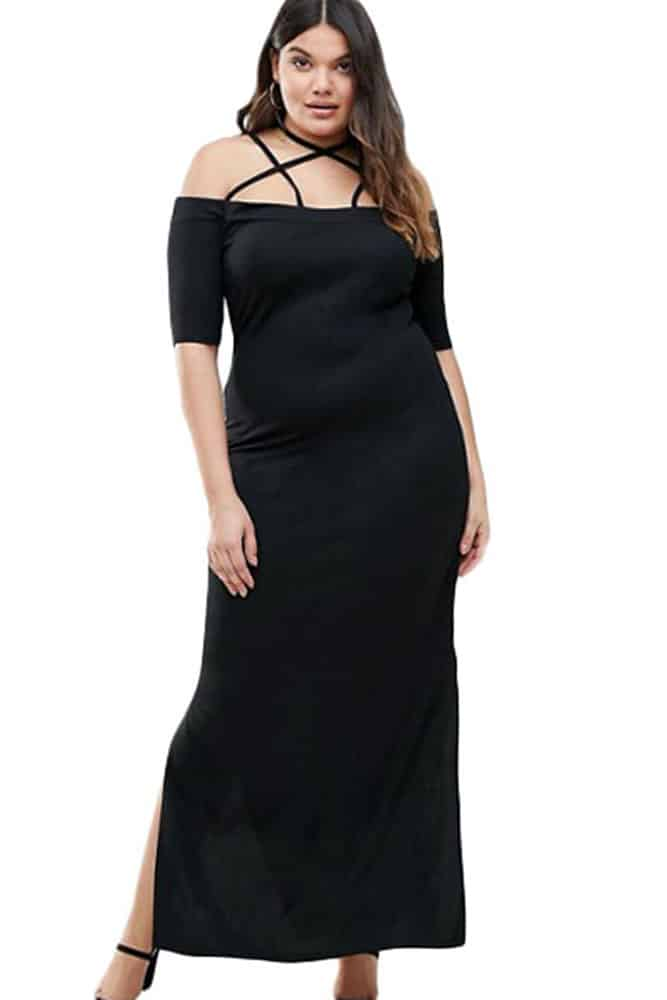 Strap Detail Maxi Dress with Side Slits