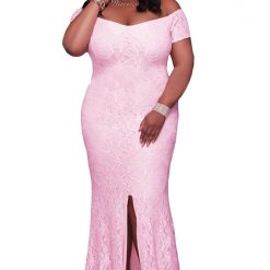 Pink Off Shoulder Lace Gown