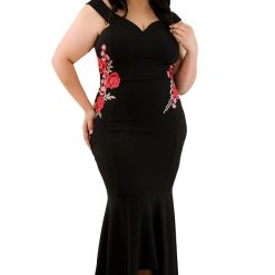 Black Embroidery Floral Mermaid Maxi Dress