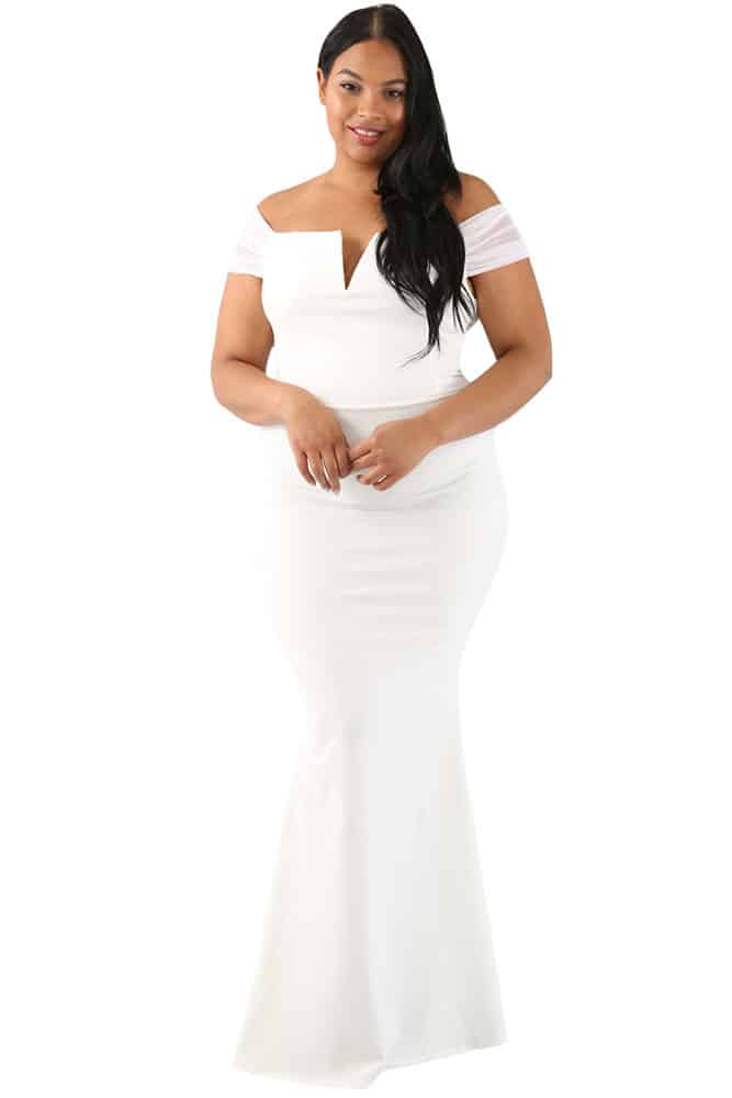 White Sheer Sleeve Column Dress