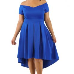 Blue Off Shoulder Swing Dress