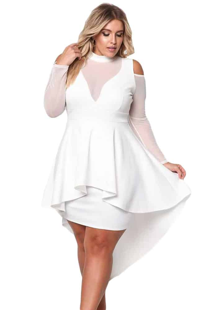 White Mesh Trim Hi-Lo Peplum Bodycon Dress