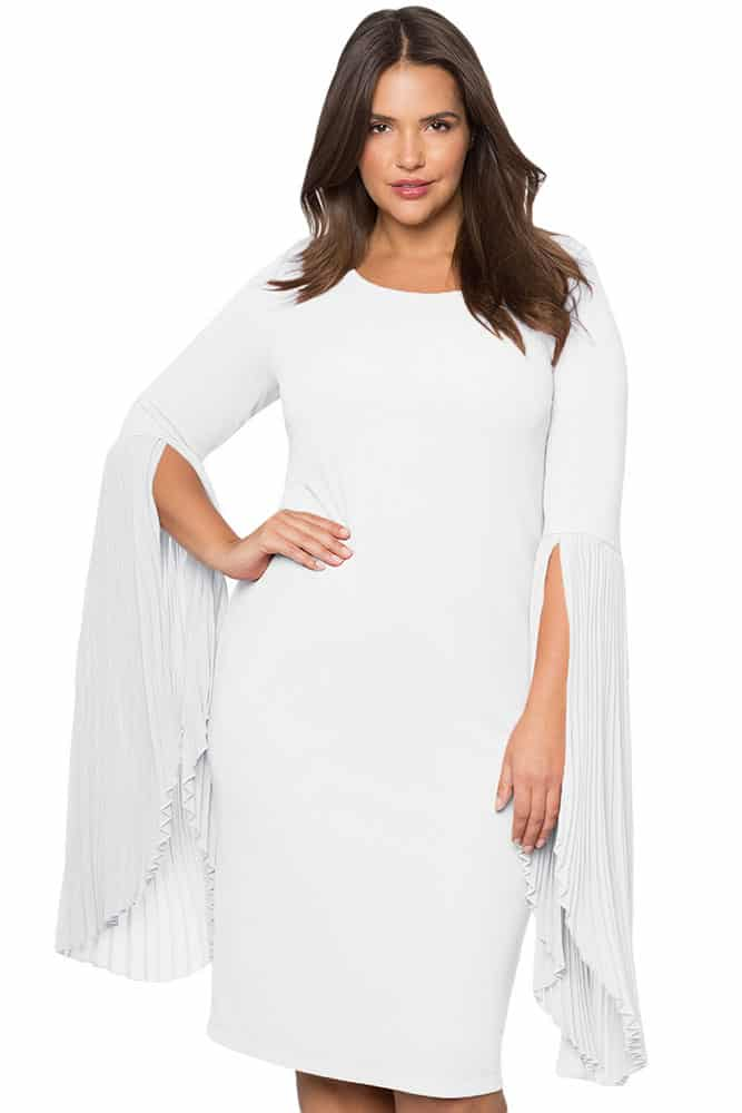 White Pleated Flare Sleeve Dress
