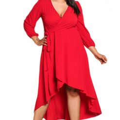 Red Ruffle Wrap Hi-low Dress