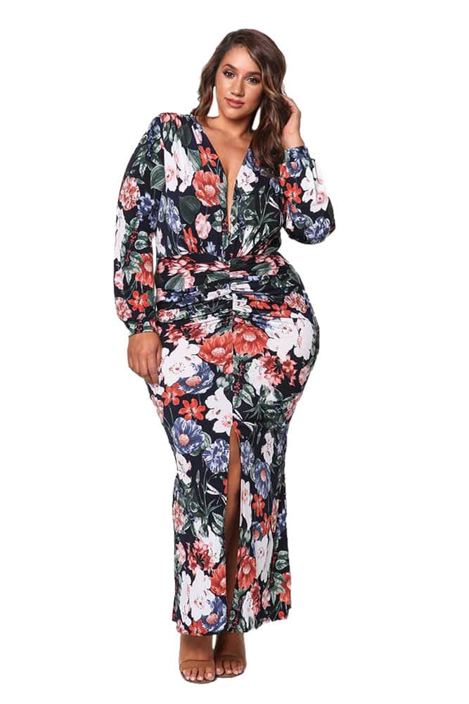 Black Ruched Floral Plunge Maxi Dress