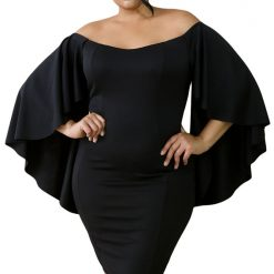 Black Off Shoulder Fluttering Bell Sleeve Curvy Dress