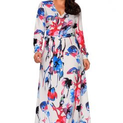 Blue Red Floral Print Sash Tie Maxi Dress