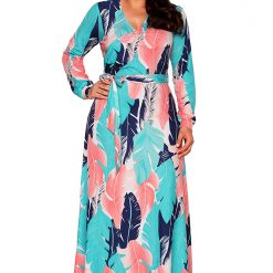 Blue Coral Leafy Print Sash Tie Maxi Dress
