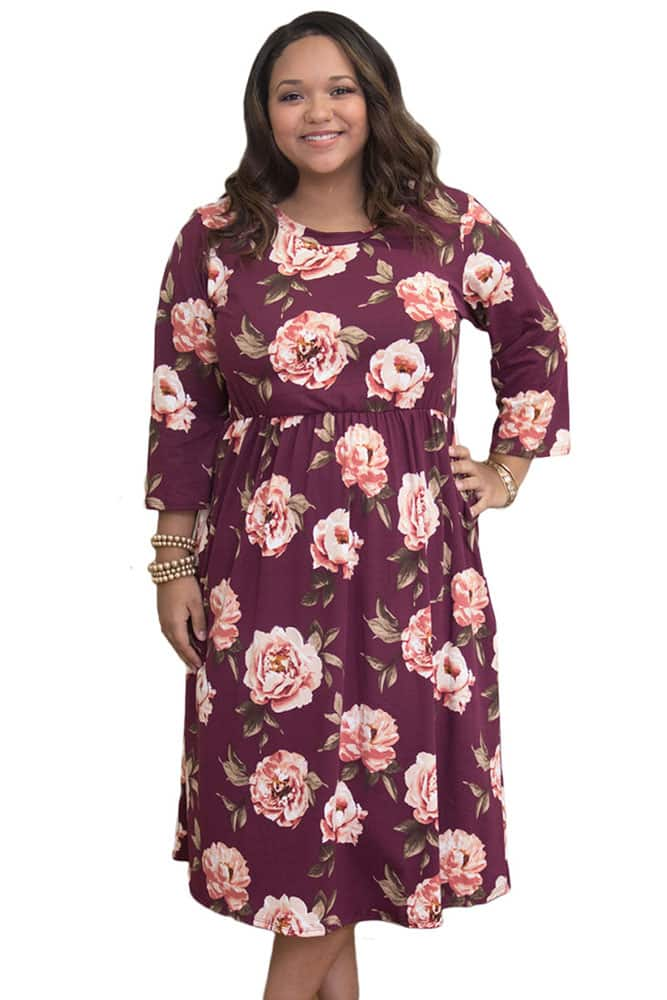 Purplish Red Floral Printing Dress