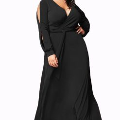 Black Surplice V Neck Maxi Dress