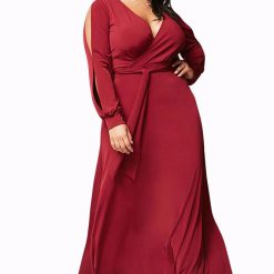 Burgundy Surplice V Neck Maxi Dress