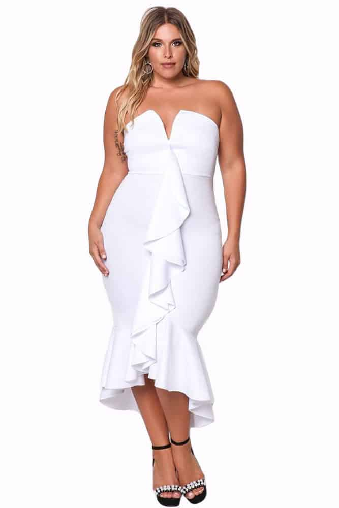 White Strapless Cascading Ruffle Hi-Lo Dress