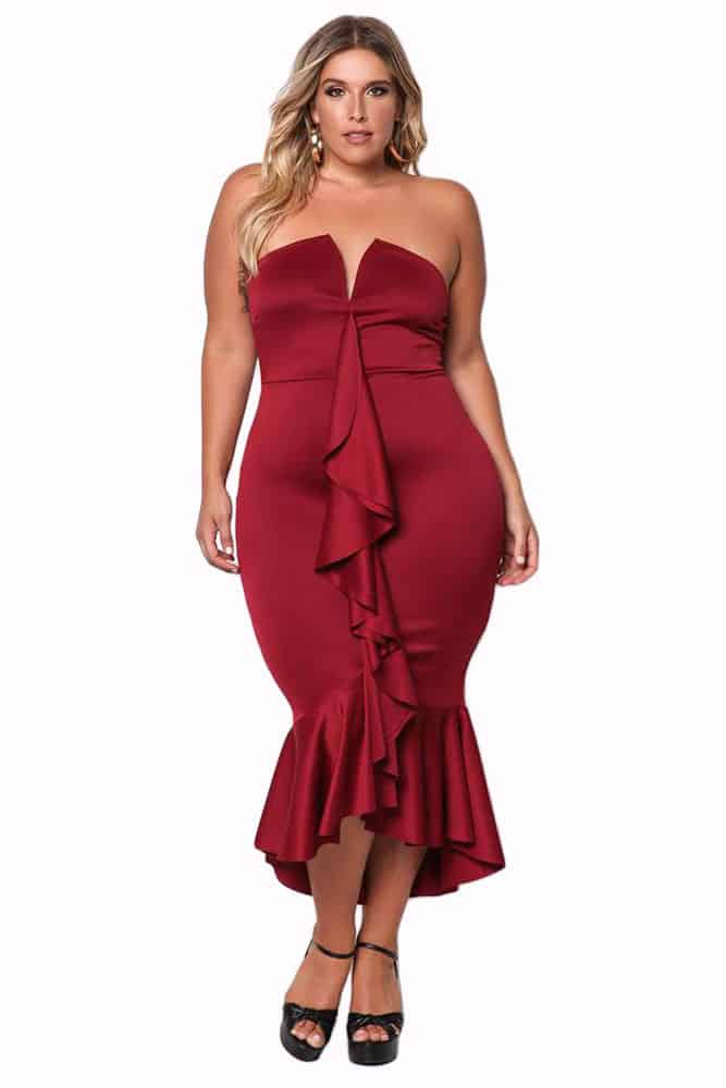 Wine Strapless Cascading Ruffle Hi-Lo Dress