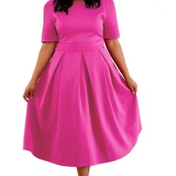 Rosy Pleat Flare Dress
